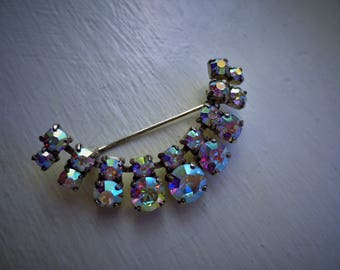 Vintage Stunning Prong set Aurora Borealis Brooch Purchased Copenhagen Denmark