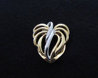 Vintage Heart Shaped Gold and Silver Tone Scarf Clip