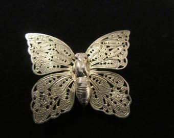 Vintage  Silver Filigree Butterfly Brooch Old C Closure