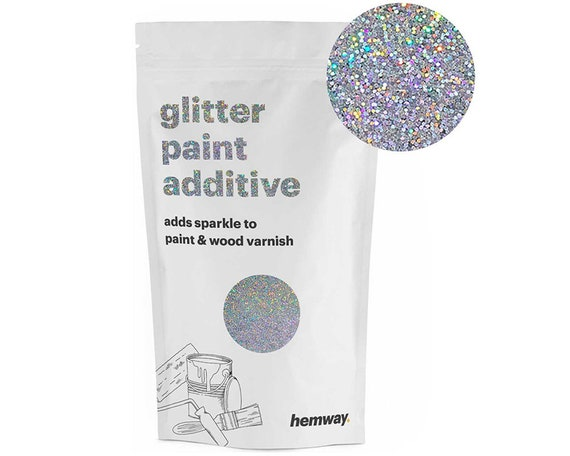 Hemway Glitter Paint Crystals Additive 100g For Emulsion Acrylic Walls Ceiling Feature Bedroom Bathroom Silver Holographic