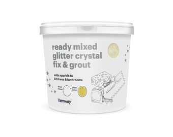 Hemway Ready Mixed Glitter Crystal Fix & Grout - White Grout with Gold Glitter 4.5kg Tub