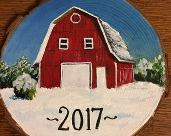 Custom wood slice Christmas ornament or magnet, painted from your photo, 3.5-4 inch diameter pine slice, first home ornament
