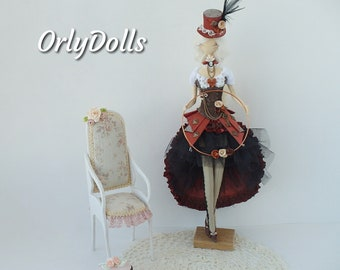 Interior doll, Steampunk style doll, Boudoir doll, Cloth doll, Handmade doll, Textile doll, Soft doll, Rag doll, gift doll, Fabric art doll