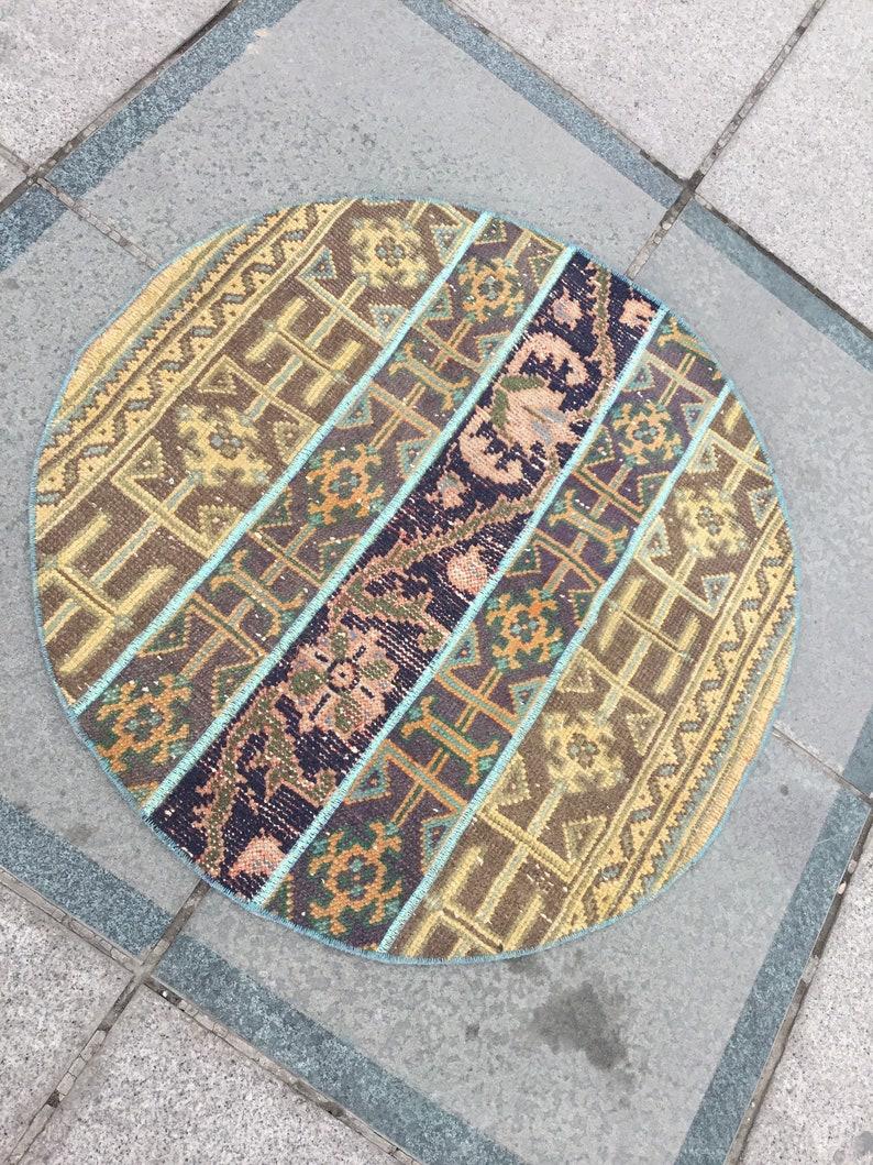 round rug  bathroom rug  oushak rug  turkish rugs  area rug  anatolian rug  living room rug  entry wool rug  2.9 ft MB 1077