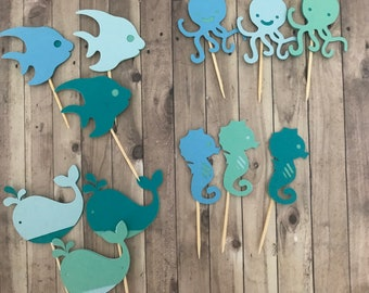 Nautical Baby Shower Decor Navy Ocean Party Nautical Birthday Party Decorations Whale Decorations and Grey Whale Confetti Teal