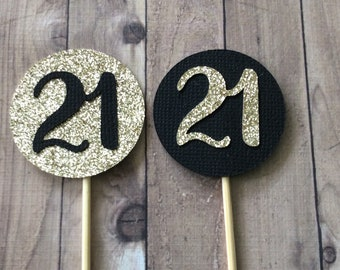 21st Birthday Decorations Party Number Cupcake Toppers Age Black And Gold 10 CT Twenty One