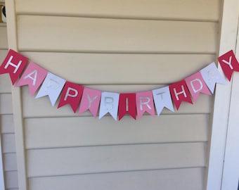 Happy Birthday banner, Pink birthday banner, Happy birthday, Birthday party decor, Happy birthday sign, Custom banner, Birthday decorations