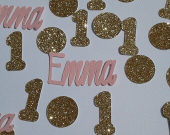 First birthday girl, Pink and gold party, Name confetti, Party decorations Childrens party, Personalized confetti, Custom confetti, confetti