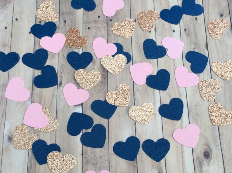 Bridal shower confetti Table decorations Rose Gold Navy and pink heart confetti Engagement party decorations Baby shower confetti