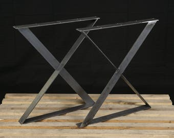 2 x table legs dining x pedestals in industrial steel table legs x style legs flat steel legs dining table legs desk legs metal table legs powder coated set of 2 watchthetrailerfo