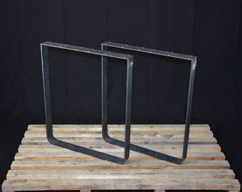 "Flat Steel Table Legs,  Kitchen Table Legs, Powder Coated SET of 2 Hight 28"" -72 cm"