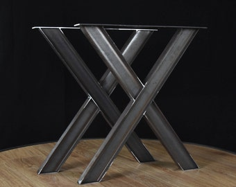 Industrial X Shape Metal Table, wrought iron table legs, industrial table base  SET of 2
