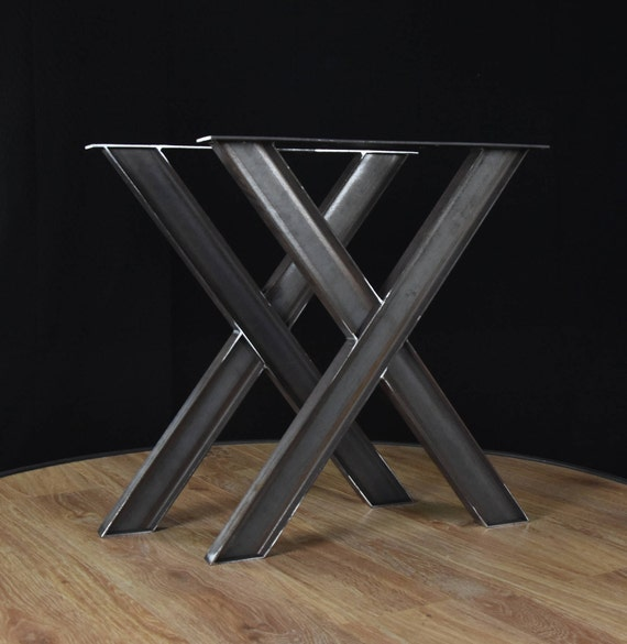 x forme m tal table industrielle pieds de table en fer forg etsy. Black Bedroom Furniture Sets. Home Design Ideas