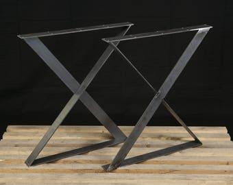 Steel Table Legs, X Style Legs, Flat Steel Legs, Dining Table Legs, Desk Legs, Metal Table Legs Powder Coated SET of 2
