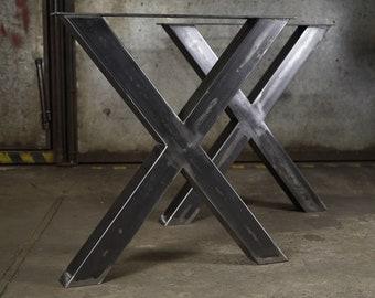 """Metal Dining Table Legs. Heavy Duty Steel Table Legs (set of 2 legs, 28"""" = 71 cm), Bench Legs, Iron Desk Legs. Industrial, X shape, IN STOCK"""