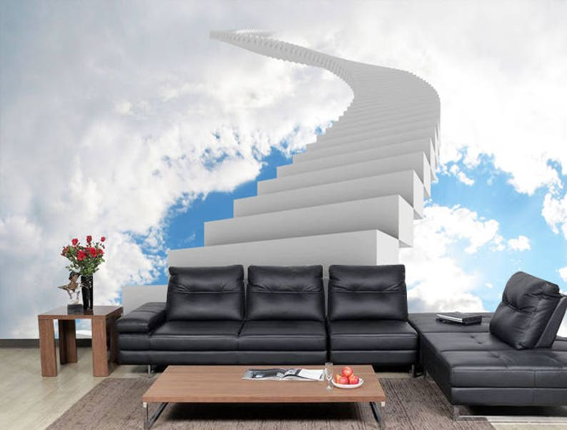 Sky Wall Mural Fol Living Room, Sky Stairway Wall Mural Wallpaper For  Office, Romantic Bedroom Wall Decor SKU 20188