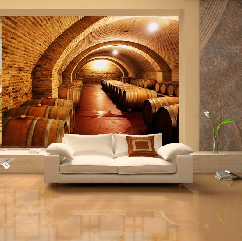 Large wall mural of ancient castle  Colorful photo of wine cellar interior   Extra large wall decor of castle wine cellar SKU 20230