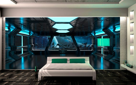 Wall mural sci fi photo art Wall mural futuristic spaceship
