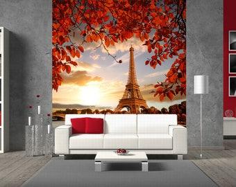 Large wall mural. Poster Paris landscape. Colorful photo of Eifel Tower. Fine art photo wallpapers. 3D wall mural. Eifel Tofel photomural