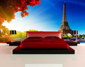 Large wall mural. Poster panorana of Paris. Colorful photo of Eifel Tower. Fine art photo wallpapers. Extra large wall decor for home.