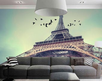 Large wall mural. Poster Paris landscape. Colorful photo of Eifel Tower. Fine art photo wallpapers. Extra large wall decor for home.