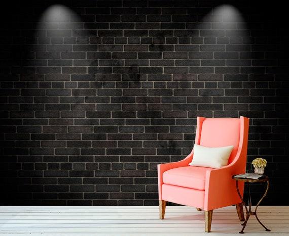 Dark Grey Brick Wall Mural For Living Room Black Bricks For Office Decor Rustic Wallpapers For Home Dark Wall Mural Sku 20370