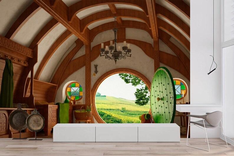 Murales Per Interni Casa.Interni Decorazione Murale Arte Di Fantasia Hause Panorama Etsy