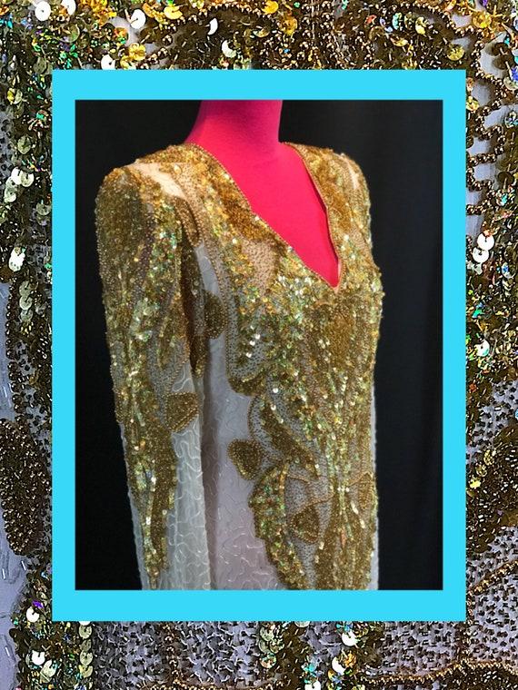 vtg gown//vibrant gold & white