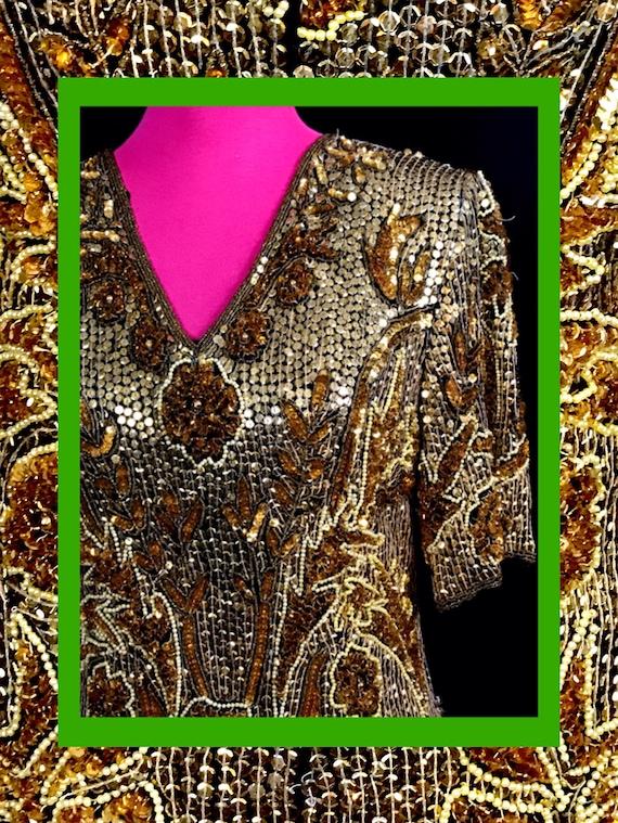 golden vtg dress//art deco