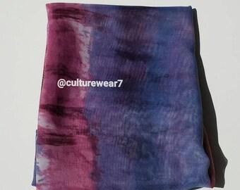 Headwrap Blue & Pink/ Ivory