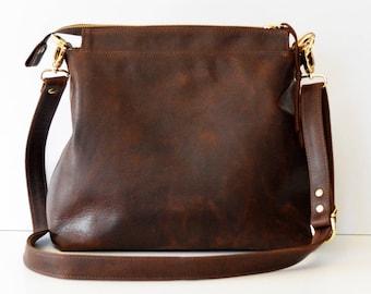 Leather hobo bag / Leather crossbody bag / Leather bag / Leather zipper hobo bag / Soft brown leather bag /  Leather Handbag with Linen