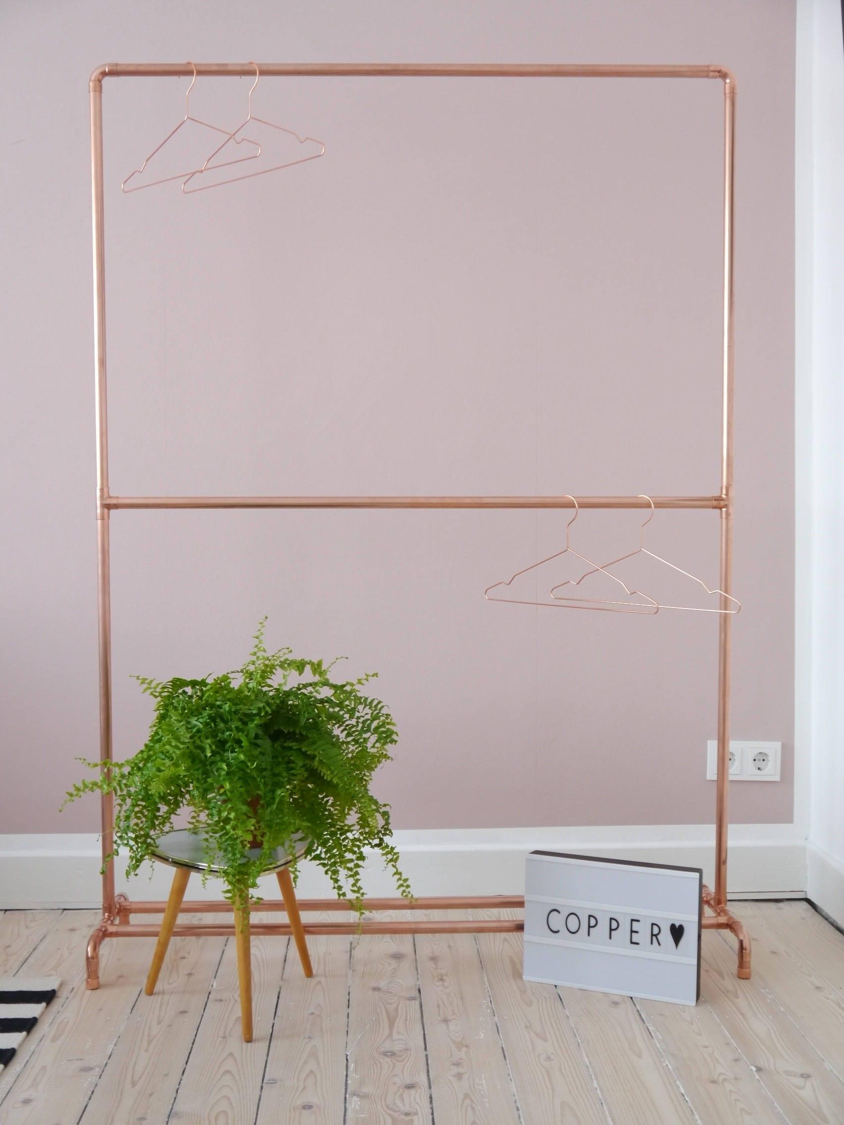 kupfer kleiderständer kleiderstange mit trennsteg copper | etsy