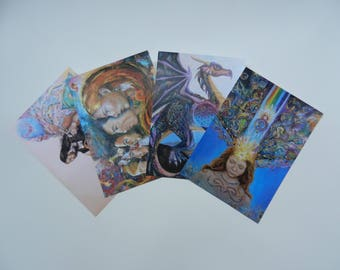Four A5 unique artisticsurreal and spiritual cards from original oilpaintings.