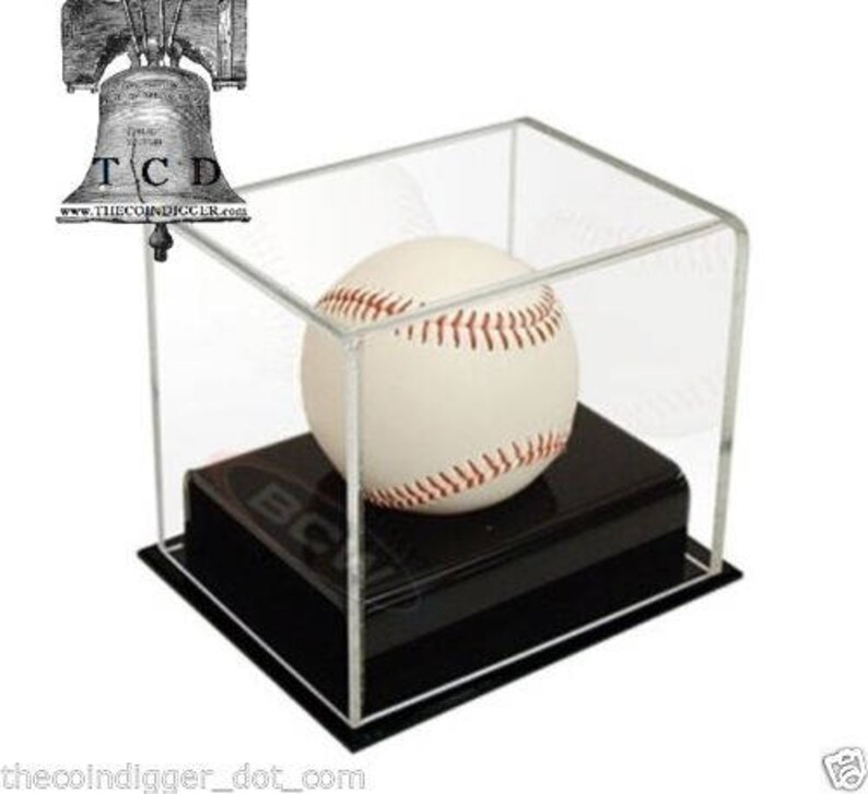 Bcw Baseball Deluxe Acrylic Display Case Uv Protection Autograph Holder Rocks Fossils Minerals Gems Geodes Agates Amethyst Stand Medals