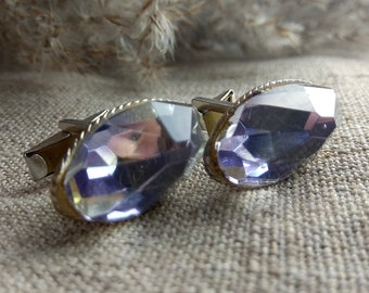 Vintage large oval blue crystal cufflinks Golden tone Wedding grooms cufflinks Men's jewelry