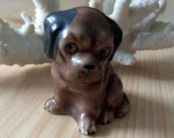 Vintage Miniature Ceramic dog figurine Table Decor Brown puppy statue