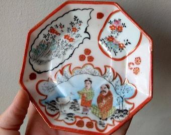 Vintage Chinese porcelain Dish Saucer Fine Bone China Hand-painted tableware Octagon plate unique kitchen decor