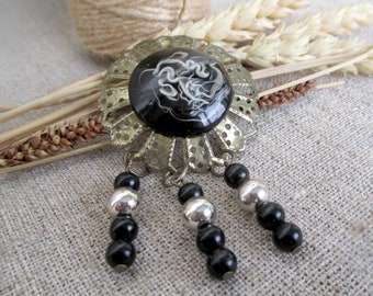 c126b399643 Vintage black openwork metal brooch Women retro jewelry large Round brass  abstract brooch filigree gift idea