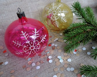 2 Christmas Glass ornaments Christmas balls snowflake Soviet vintage tree decoration blown glass ornament christmas balls set xmas tree ball