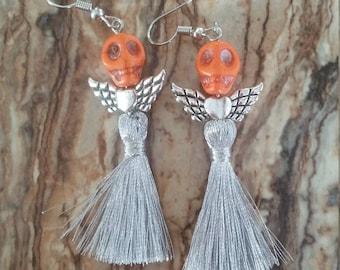 Skull Tassel Earrings ~ Heart with Wings ~ Sugar Skulls ~ Day of the Dead ~ Dia de los Muertos ~ Pop Culture ~ Gifts for Her ~ Gift Ideas
