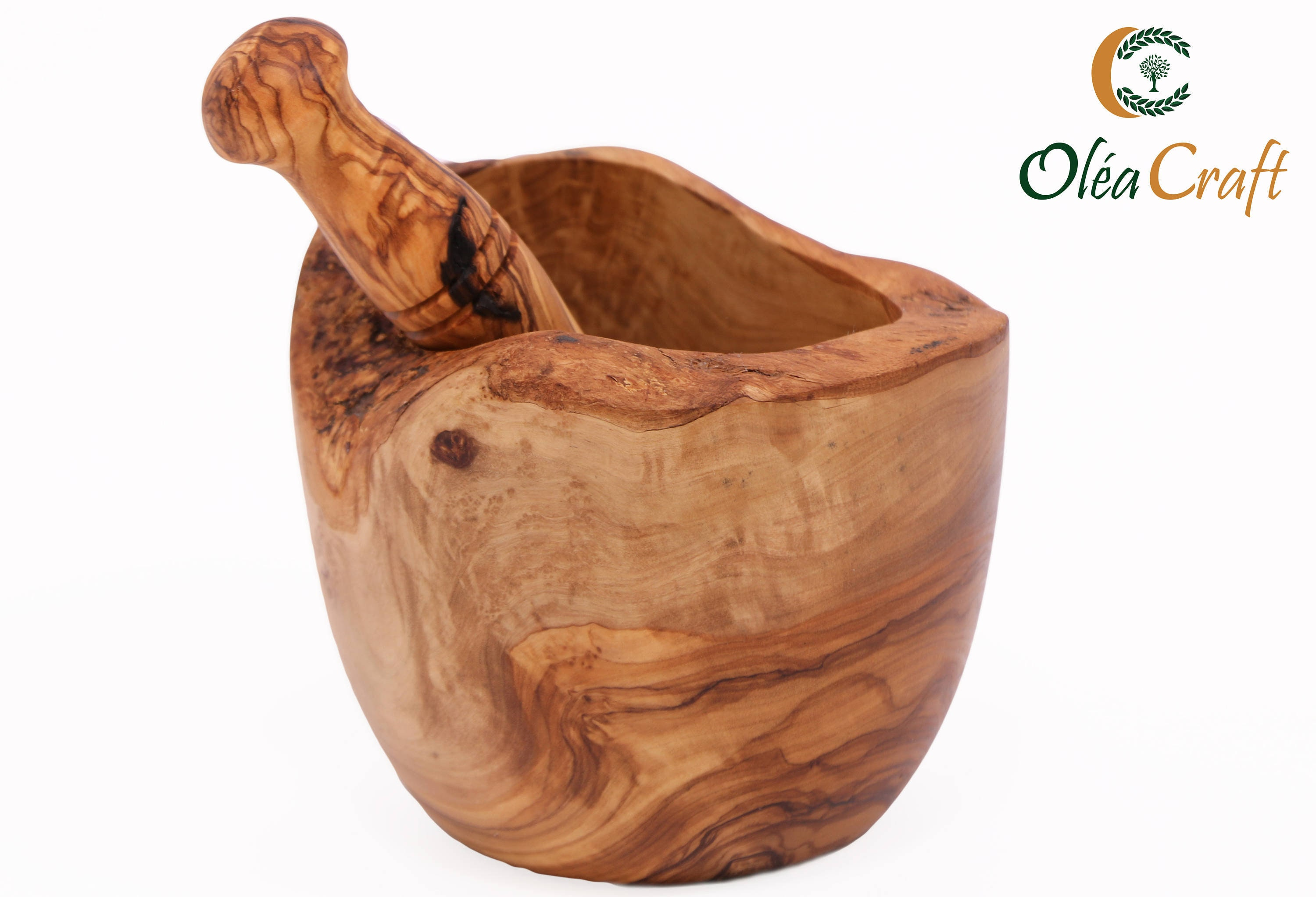 Olive Wood 3 Mortar and Pestle Handmade Crush Spices Garlic Smasher Gift Idea 3