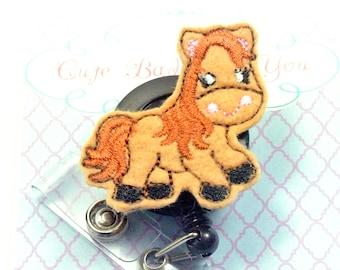 Horse Badge Reel | Nurse Badge Reel | Felt Badge Reel | Horse Paper Clip | Nurse Gift | Nurse Badge Clip |  ID Badge Holder | Retractable
