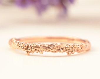 wattle ring, 14k rose gold leaf wedding ring, rose gold ring, solid gold leaf ring, leaf engagement ring, flower wedding band, laurel leaf