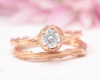 twig engagement ring set, moissanite engagement ring, leaf engagement ring, rose gold ring, unique engagement ring, branch engagement ring