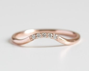 14k gold diamond curved wedding band, rose gold ring, april birthstone, diamond ring, thin gold ring