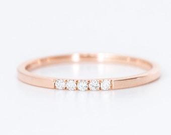 14k gold diamond wedding ring, rose gold ring, april birthstone, diamond ring, thin gold ring, dainty wedding ring