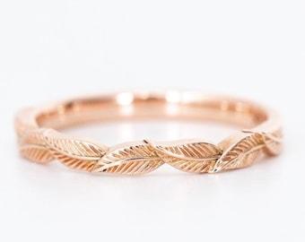 14k rose gold leaf wedding ring, rose gold ring, solid gold leaf ring, leaf engagement ring, flower wedding band, laurel leaf