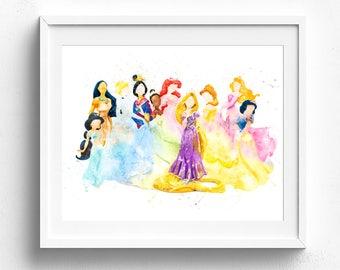 Princess Watercolor Etsy