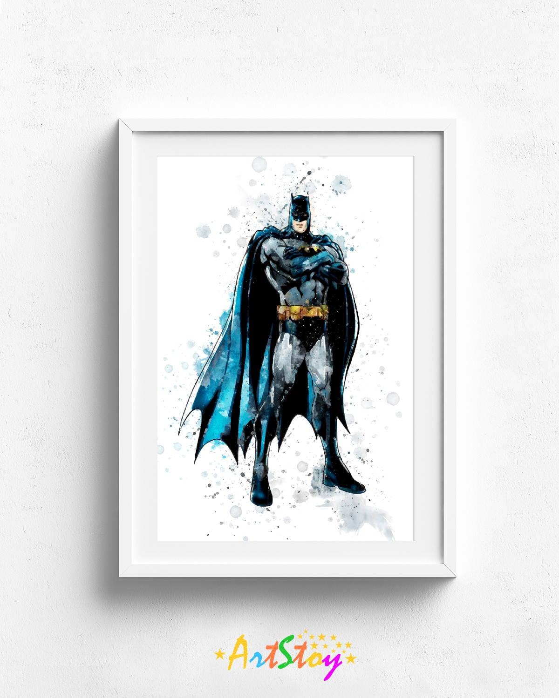 Drucken Sie Batman Batman-Plakat Batman-Wand-Kunst Aquarell   Etsy
