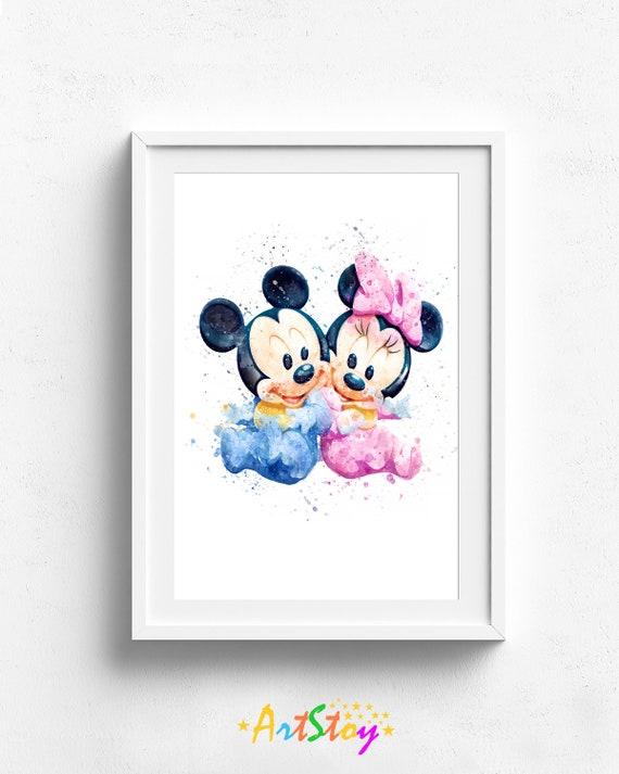 Minnie Maus Kinderzimmer, Mickey Mouse Poster Wandkunst Minnie Aquarell  Minnie Maus Druck, Minnie Maus Dekor, Disney-Drucke